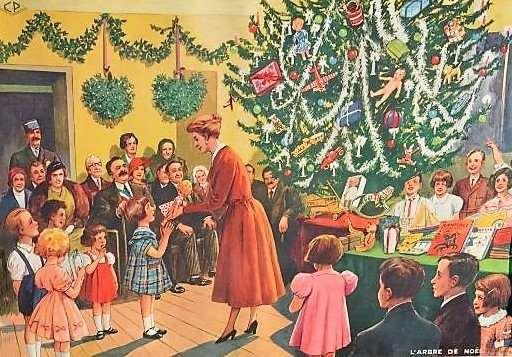 Affiche-scolaire-Rossignol-année-50-larbre-de-Noël